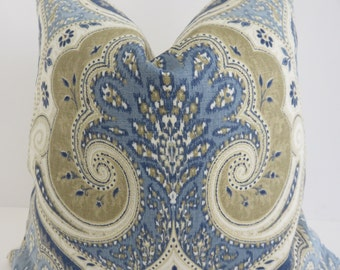 Latika Pillow Cover. Blue Latika Pillow Cover, Blue Brown Pillow Cover, Kravet Blue Pillow, Ivory Blue Pillow, Home Decoration
