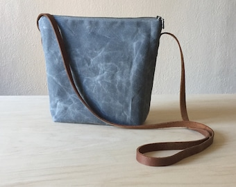 Crossbody Bag in Grey Waxed Canvas - Shoulder Bag, Small Day Bag, Gift for Wife, Girlfriend