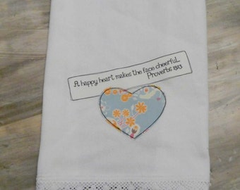 A happy heart Kitchen Towel, hostess gift, Bible verse dish towel