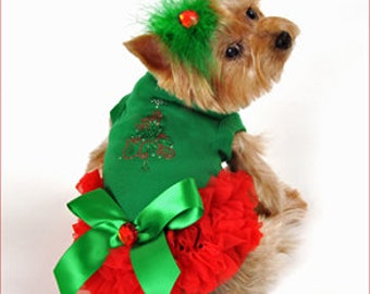 Green and Red Christmas Dog Dress for Small and Large Breeds
