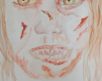 Exorcist inspired pencil and water colour