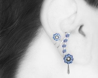 Blue Swarovski Crystal Steampunk Ear Cuff, No Piercing, Cartilage Earring, Light Sapphire Swarovski Crystal, Bridal Jewelry, Aither III v9