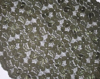 """1 yard Olive Green lingerie craft sewing galloon STRETCH LACE 14"""" extra Wide"""