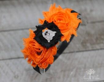 Halloween Headband - Ghost Headband - Orange and Black Headband - Fall Headband - Baby Headband - Adult Headband