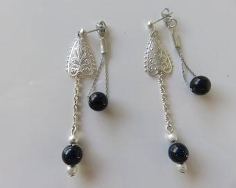 """""""Hateya"""" original, Pearl Earrings Goldstone front and back"""