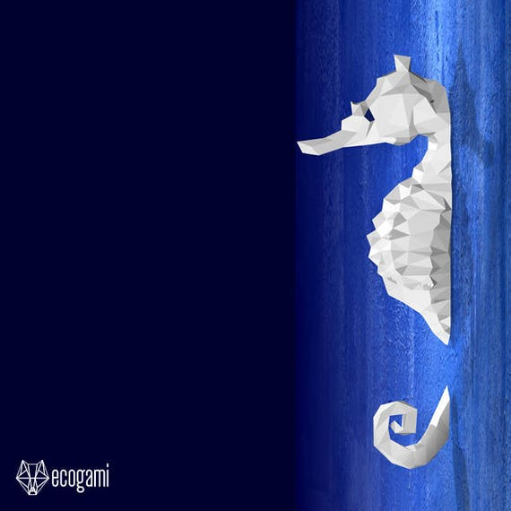 Sea horse papercraft pdf diy wall mount 3d seahorse like this item solutioingenieria Image collections