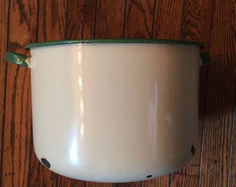 Vintage Enamelware Cream and Green Stock Pot