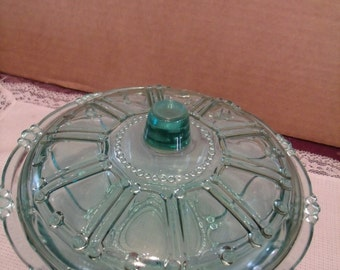 Vintage Green tint Glass bowl with Lid (Candy Dish), (# 175/10)