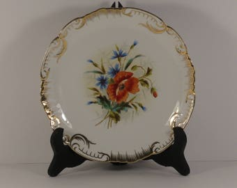 Two Unmatched Hand Decorated Vintage Porcelain Plates