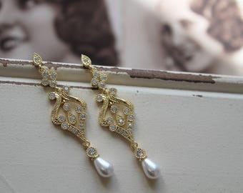 Gold Art Deco Earrings , Vintage Style Crystal Pearl Earrings, Bridal Earrings, Wedding Earrings, Drop Earrings, Stud Earrings, Great Gatsby
