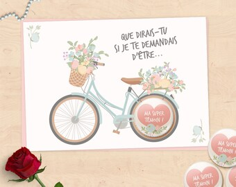 Card badge gift request wedding witness, great witness, Maid of honor - floral bike Collection
