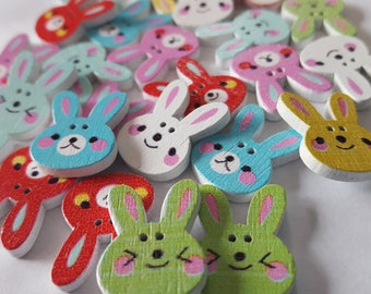 25 Wood buttons rabbit wooden buttons for kids craft jewellry 2 holes different colors wood buttons to make necklace for children craft