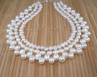 White Pearl Multi Strand Necklace White Pearl Tiered 3 Strand Pearl Princess Necklace Statement Pearl Elegant Occasion Big Freshwater Pearl