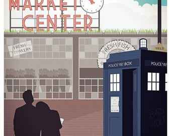 DOCTOR WHO inspired poster - the Doctor and Rose in Seattle