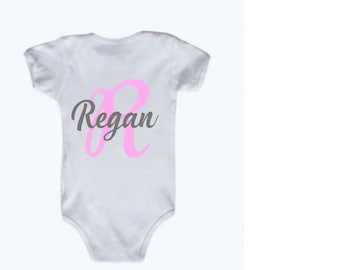 Personalized Baby Girl Initial with Name bodysuit in Pink and Grey, Name Announcement, Hospital Outfit, Coming Home Outfit, Name