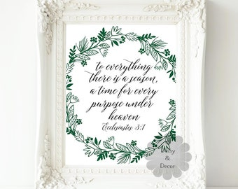 Ecclesiastes 3 1 Bible verse Scripture typography print Christian quote, inspirational quote, wall decor, office art print, floral fall art