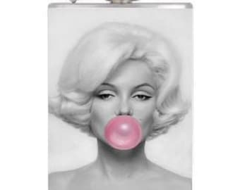 8oz Stainless Steel Wrapped Marilyn Monroe Flask