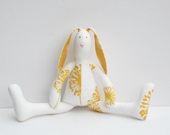 Stuffed bunny white yellow sunny bunny rabbit hare softie plush rabbit bunny doll cute summer stuffed toy birthday gift for boy and girl