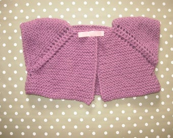 Vest short purple baby alpaca and wool 6 months