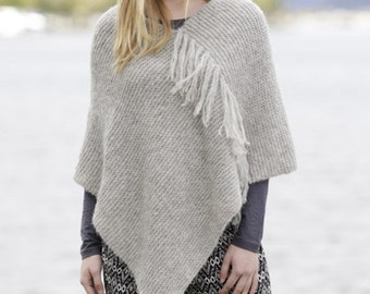 Hand knitted poncho with fringes for women, made to order!
