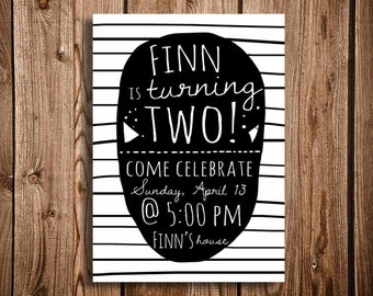 Black and White Stripe or Polka Dot, Printable Birthday Invitation