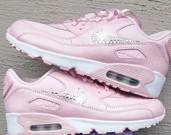 58d09fda53cf8 ... official swarovski crystal pink nike air max 90 girls grade school  shoes bling diamond sneakers befbc