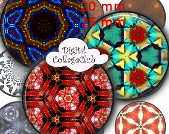 Caleidoscopios - 12 mm, 20mm, 25 mm 1 inch Circle Digital Collage Sheets Bottle Cap Images 1' Button Round Circles