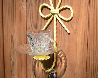 Bird Feeder Yellow Upcycled Vintage Glass Metal Candle Holder Recycle Handmade  PanchosPorch