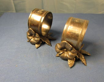 PAIR Victorian Napkin Rings Simple Figural Flower and Leaf with Almyra and Henry Engraving Meriden Silver Plate Antique Vintage