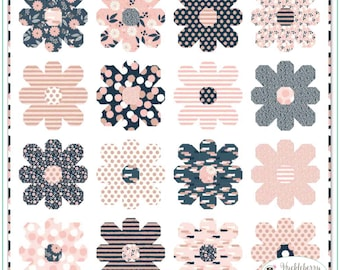 Riley Blake - Blush - My Minds Eye - Flower Power Quilt Kit - Quilting Fabric - Cotton Fabric