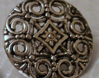 2 Tibetan Silver Tone Ornate Cut-Out Design 18mm Shank Buttons