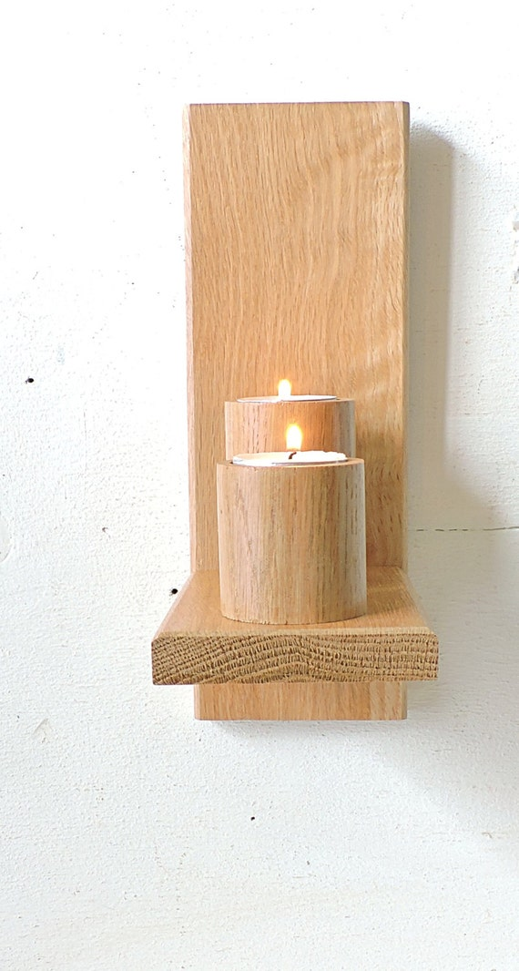 Wall oak candle holderwall mounted wooden candle holders for Oxford turned wood candle holders
