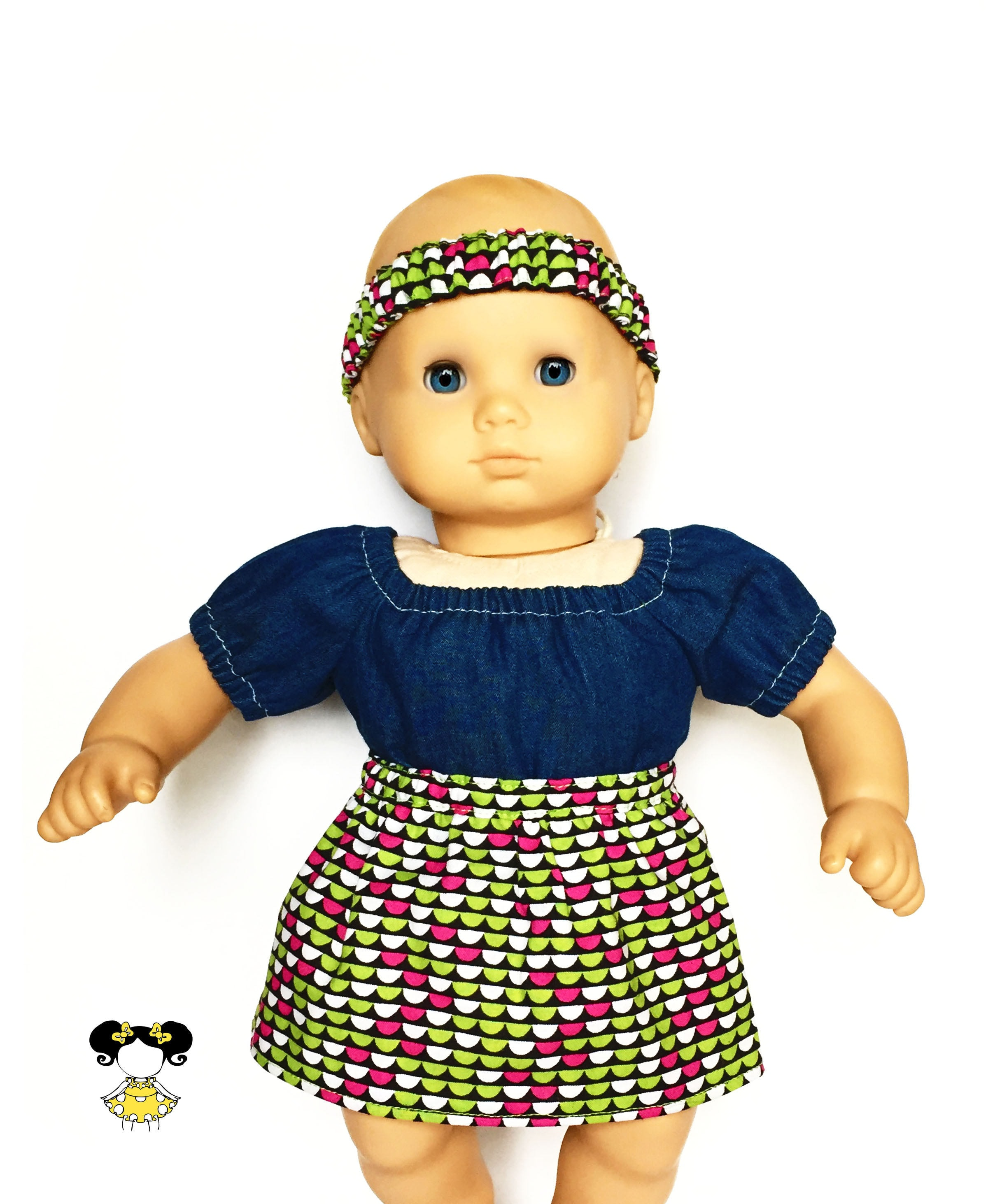 Baby Flare Skirt Matching Headband Geometric Lime Green