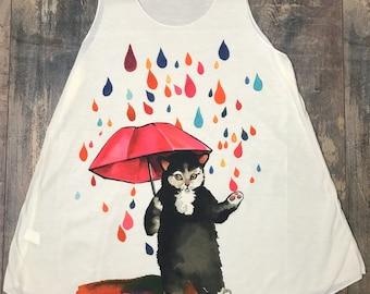 Cat Tank top, rain