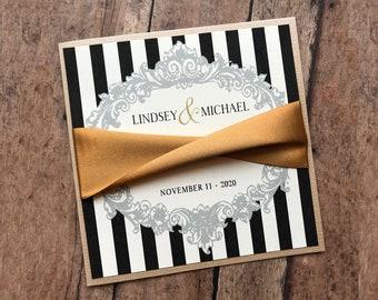 Black and Gold Wedding Invitation, Striped Vintage Frame Wedding Invitation, Rustic Wedding Invite, Victorian Wedding, Carnival Wedding