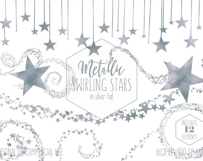 SILVER STAR CLIPART for Commercial Use Planner Clip Art Metallic Foil Star Shapes Gray Celestial Night Sky Baby Shower Fun Digital Graphics