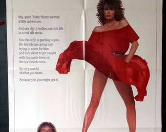 The Woman In Red - Original 1984 Comedy Movie Poster - Gene Wilder - Be Careful What You Want - You Just Might Get It!