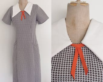 1970's Brown & White Houndstooth Dress Size Medium by Maeberry a Vintage