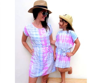 Mommy and me Outfit,Matching mother daughter Outfit,mommy and me dress,mother daughter matching dress,tie dye dress,Mother's Day gift,batik