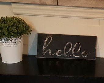 Rustic hello sign/White and Black/For the front entry