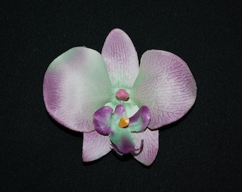 Lavender Purple and Green Orchid Flower Hair Clip Retro Glam Wedding Prom Rockabilly - Buy 3 Items, Get 1 Free