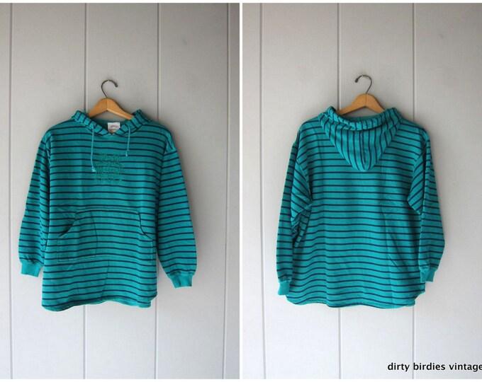 California Beach Bum Striped Sweatshirt Pullover Hoodie Green Blue Stripes Athletic Sporty Sweatshirt with Kangaroo Pocket Womens Medium