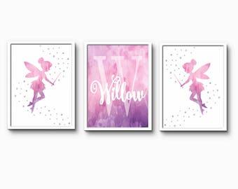 Childrens Art, Nursery Prints, Personalised Name, Baby Name print, Pink nursery, fairytale, magical nursery art, little girls room decor