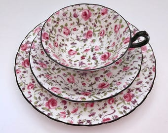 Royal Chelsea Trio Du Barry/Briar Rose Chintz China Tea Cup, Saucer & Plate