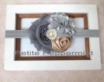 Baby headband, baby girl headband, gray baby flower head band, toddler headband, grey baby headband, newborn headband, girl headband