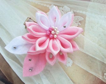 Kanzashi  Pink Water Lily  Fabric Flower Hair Clip