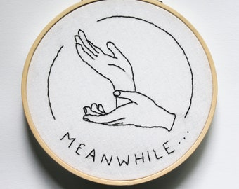 """twin peaks laura palmer """"meanwhile"""" hands embroidery handmade design embroidery hoop"""