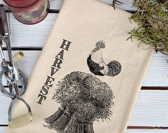 Flour Sack Towel, Flour Sack Dish Towel, Flour Sack Kitchen Towels, Tea Towels, Kitchen Towels, Dish Towels, Farmhouse, Harvest Rooster