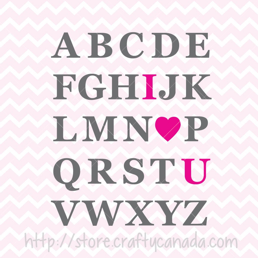 Love U: I Love You Alphabet SVG & PNG In Pink Green Purple And