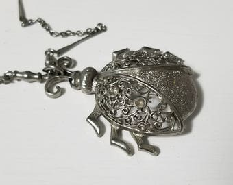 Vintage Large Filigree Ladybug/Beetle  Silver Pendant